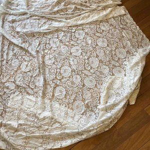 """SEARS Curtain Lace Panel Flowers 56"""" W 81"""" L VTG"""